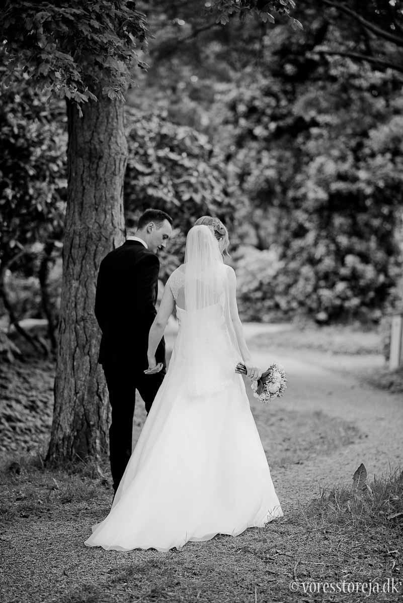 sort hvid bryllupsfoto aarhus botanisk have